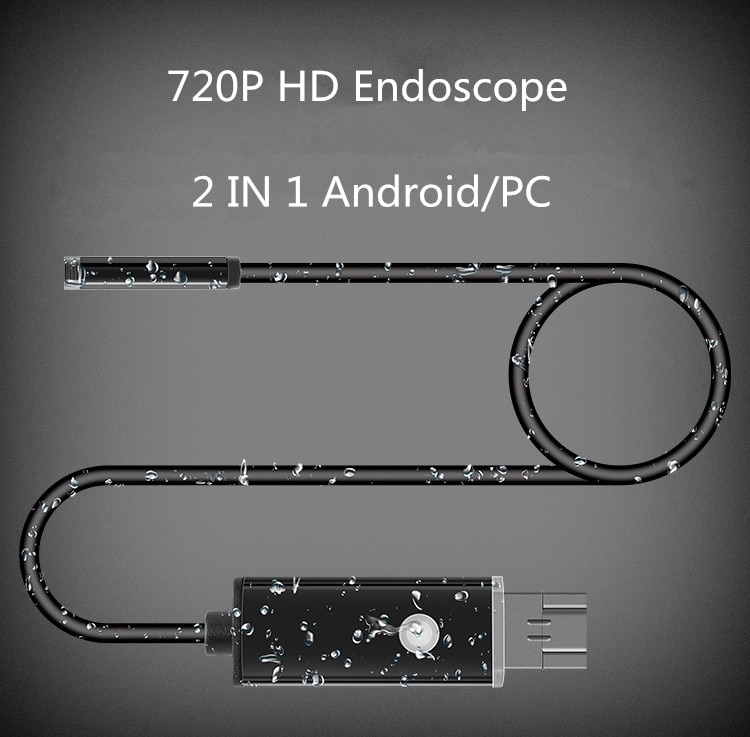 1m 2m 7MM Lens 2 IN 1 Android/PC 720P HD Endoscope Tube Waterproof Snake Borescope USB Inspection Mini Camera With 6 LED