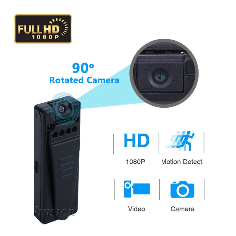 90 Degree Rotated Mini Camera 1080P HD Camcorder with Motion Sensor Infrared Night Vision Video Audio Recorder Micro Webcam