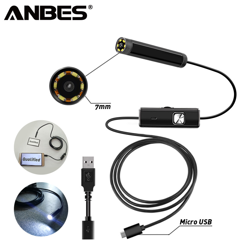 ANBES Endoscope Camera 2 in 1 USB Micro 7 MM 1M Endoscope Waterproof 6 LED Borescope Inspection Camera For Android PC Computer