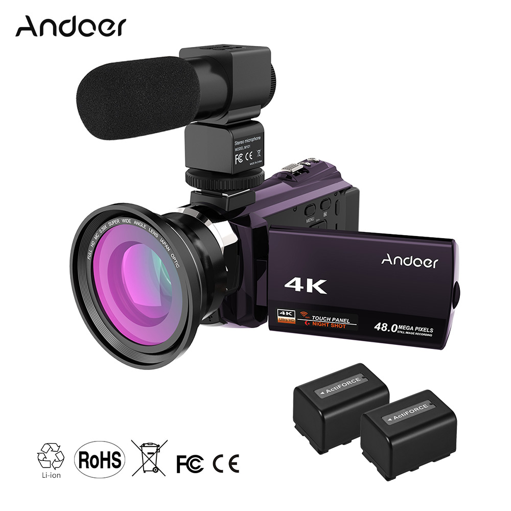 Andoer WiFi Digital Video Camera 4K 1080P 48MP Camera Camcorder Recorder w/2pcs Rechargeable Batteries 0.39X Wide Angle Lens Mic