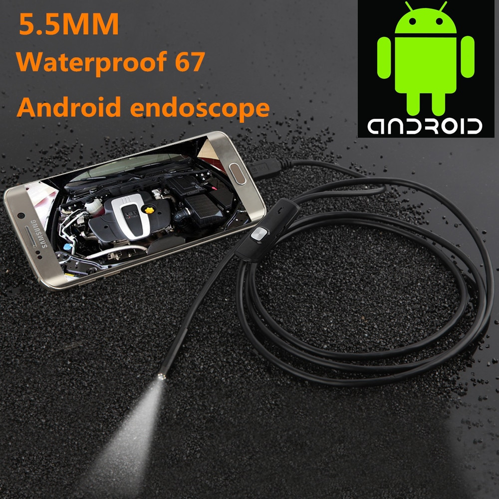 1/2m 5.5mm/7mm Endoscope Camera USB Android Endoscope Waterproof 6 LED Borescope Snake flexible Inspection Camera For Android PC