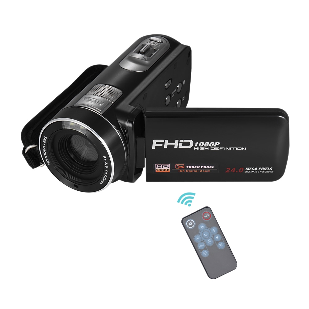 1080P Full HD Digital Video Camera Camcorder 16x Digital Zoom with Rotation LCD Touch Screen 24 MP Support Face Detection DV