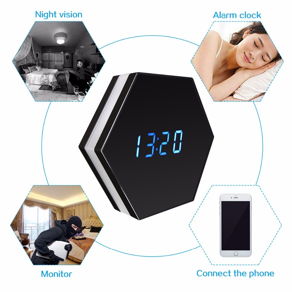 1080P Mini Camera Night Vision Electronic Clock Wireless WIFI Camera IP P2P CCTV TV Baby Monitor Home Security Monitoring Camera