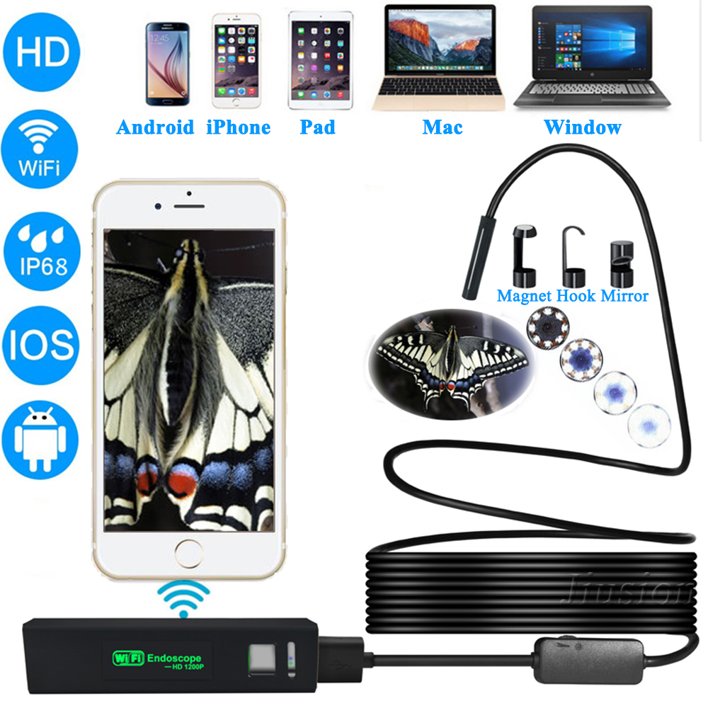 1200P HD Wifi Endoscope Semi-rigid Hard Cable for iphone Samsung Android Mac Window Car Inspection Camera IP68 Waterproof