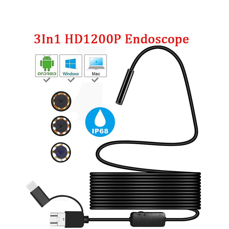 1200P TYPE-C Android Micro/USB Endoscope Camera Semi Rigid Tube Snake Borescope Inspection Cameras 8MM Len 1/2/5M for Android PC