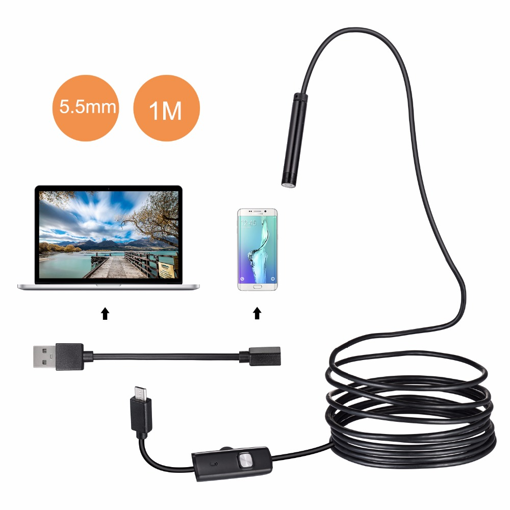 1M/2M/3.5M 5.5mm Usb Camera Android Endoscope IP67 Waterproof 6 LED Snake Borescope Inspection Camera For Android Smartphone