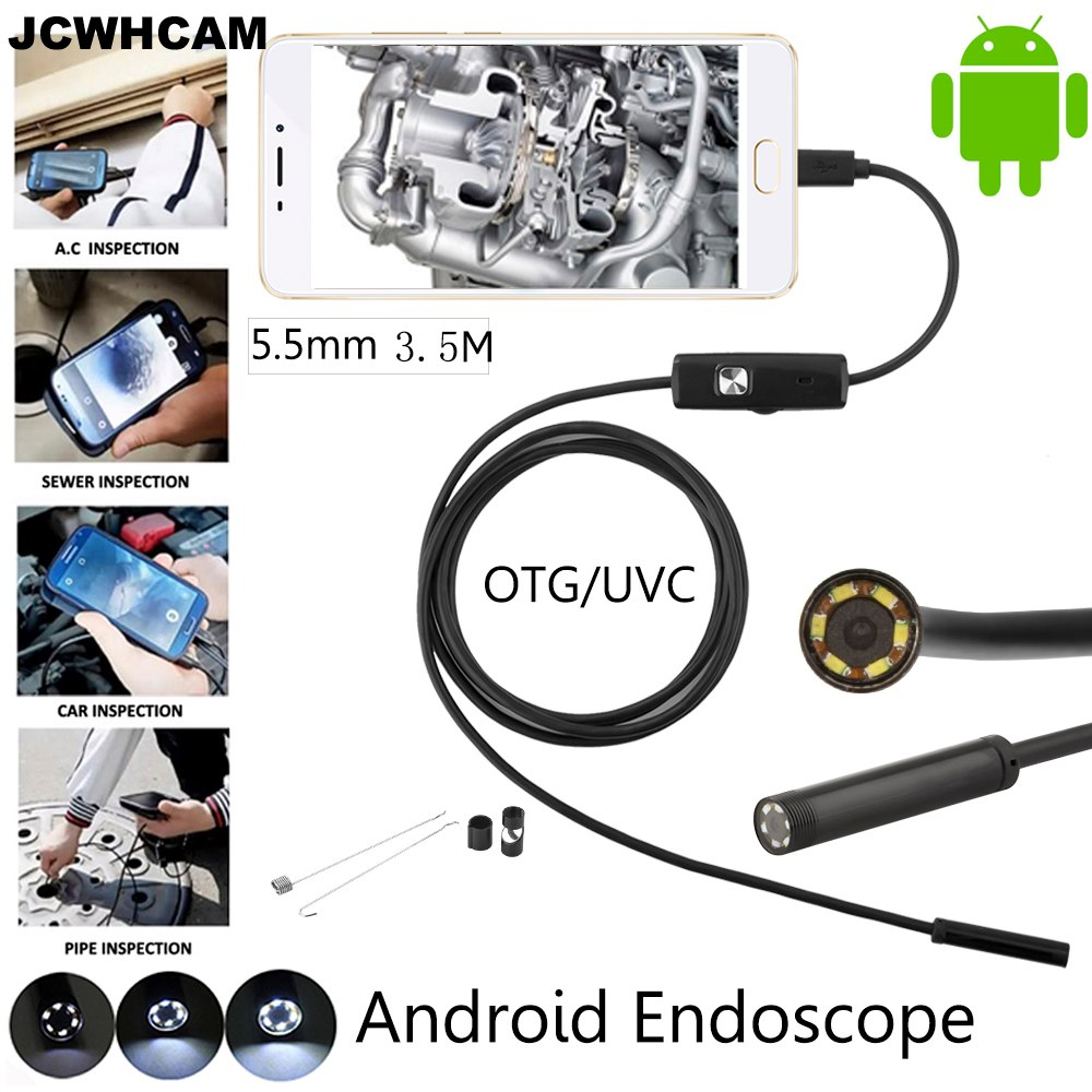 1M 2M 5M 5.5mm Lens 3.5M Android USB Endoscope Camera Flexible Snake USB Pipe Inspection Android Phone OTG USB Borescope Camera