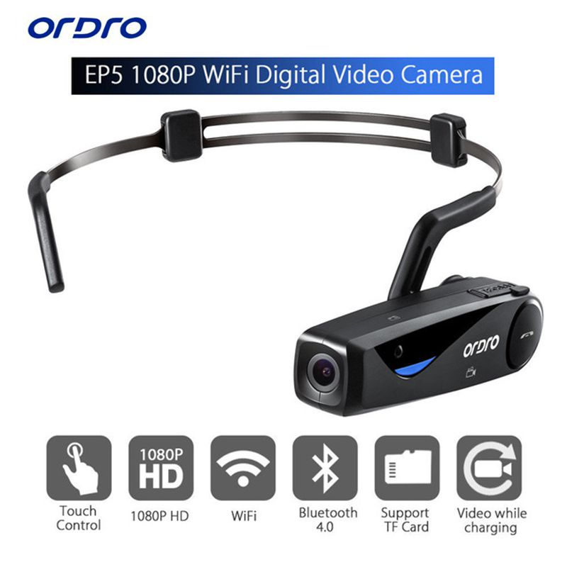 24 hours shipping ORDRO EP5 Bluetooth 4 .0 Hand Free Head Band Action Mini DV Camera Consumer Camcorders with earphone WiFi Free