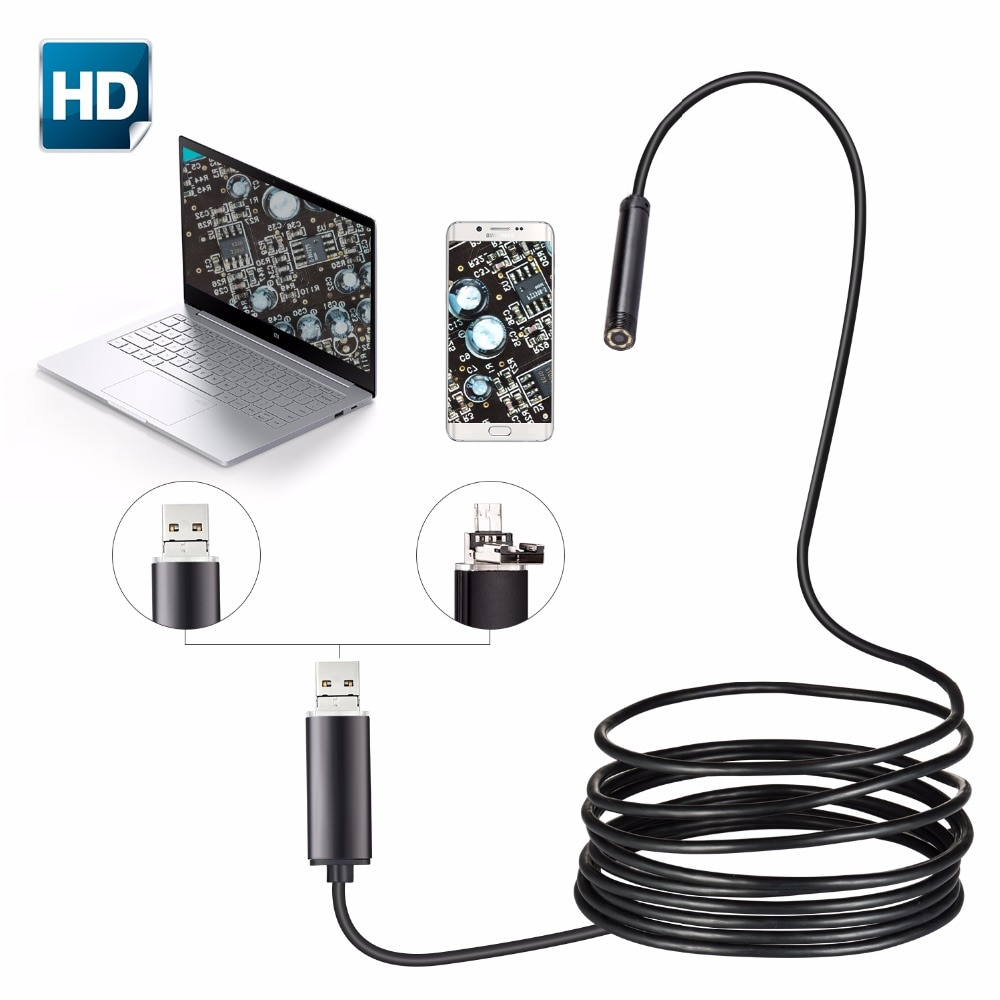 2in1 Android USB Endoscope Mini Camera 5.5mm 1M 2M 10M 5M Android Phone OTG USB Borescope Endoscoop Inspection Snake Tube Camera
