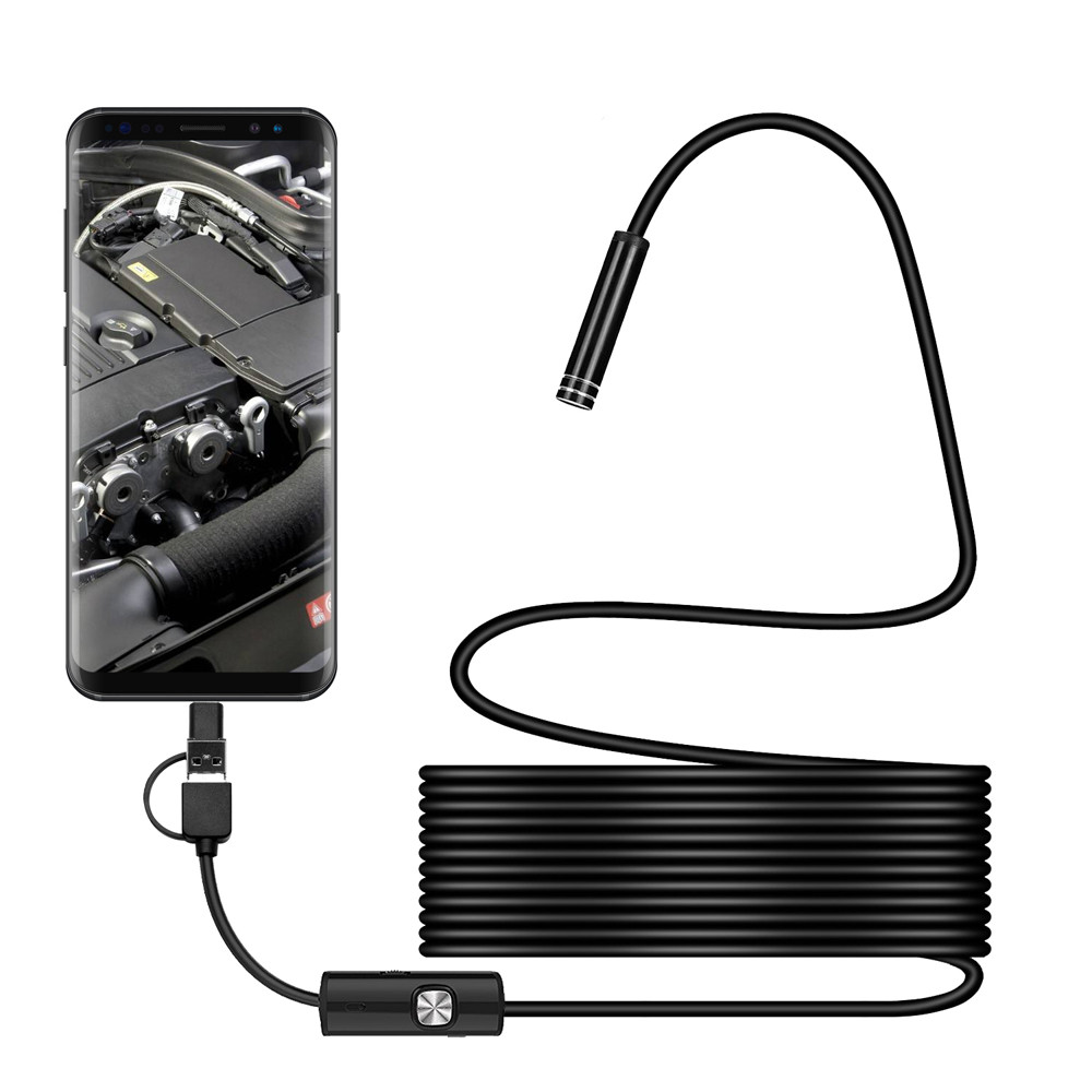 3in1 Android USB Type-C Endoscope Camera 5.5mm 6 LED Light HD Photo Video Waterproof Inspection Borescope 20A Drop Shipping
