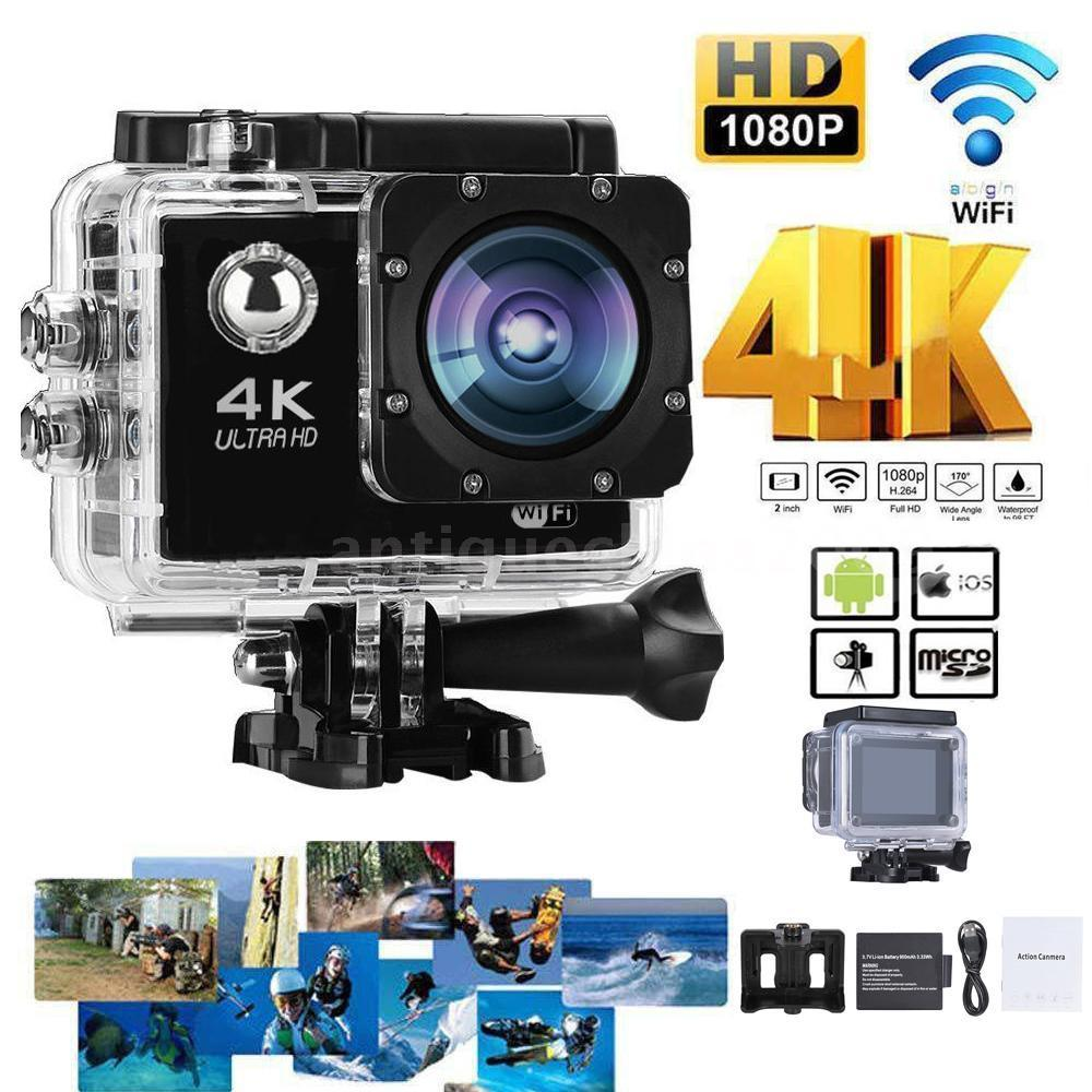 4K 30fps 16MP WiFi Action Sports Camera 1080P 60fps Full HD 4X Digital Zoom Diving 40m 170 Wide Angle Lens Sports Action Camera