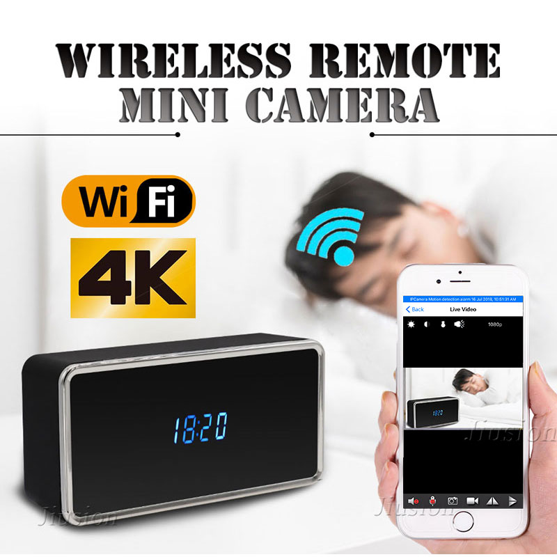 4K Mini Wifi Camera HD Micro Cam of Table Clock Night Vision Motion Detection Video Audio Recorder IP Camcorder Remote Webcam