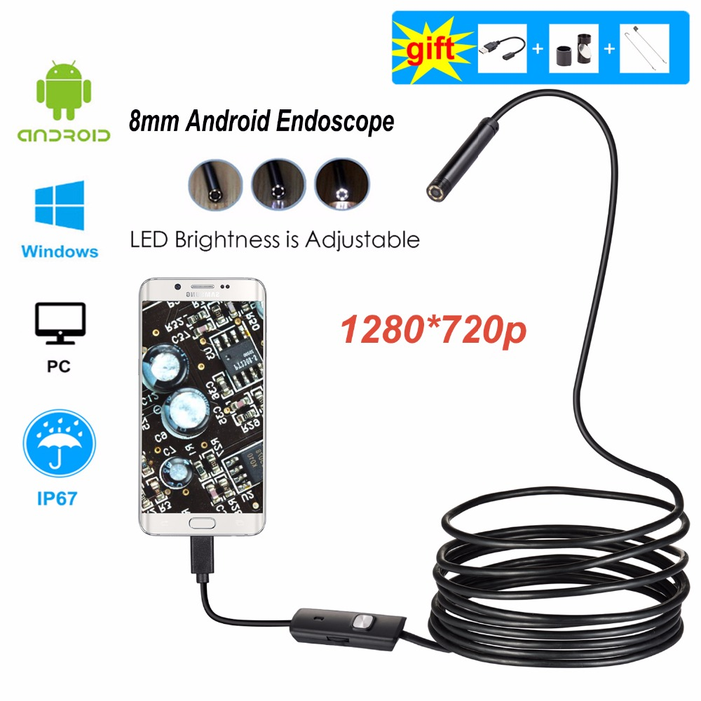 720P Android Endoscope Camera 1M 2M 5M Flexible Mini Inspection Borescope MicroUSB Cable Waterproof Endoscope for Android &PC