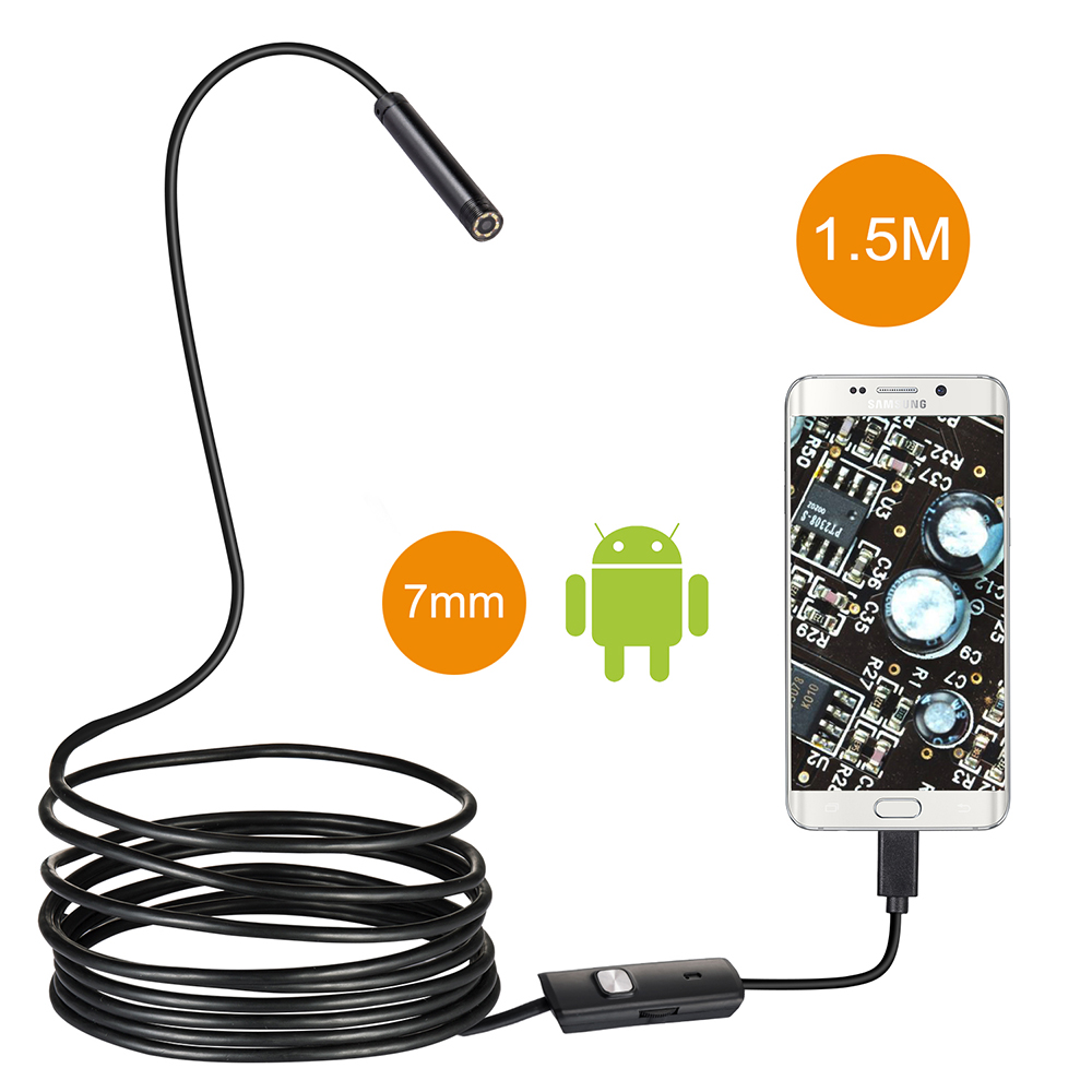 7mm 1M 2M 5M Cable Waterproof Endoscope Camera 6LED OTG USB Android Borescope Inspection Underwater Fishing For Windows PC