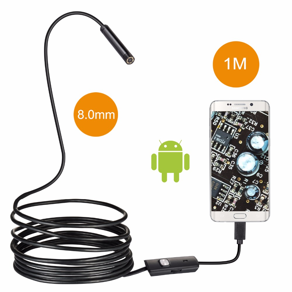 8MM Lens Endoscope Waterproof Inspection Borescope 2.0MP USB Wire Snake Tube Camera 3M 1M 5M Cable For OTG Android Smart Phones