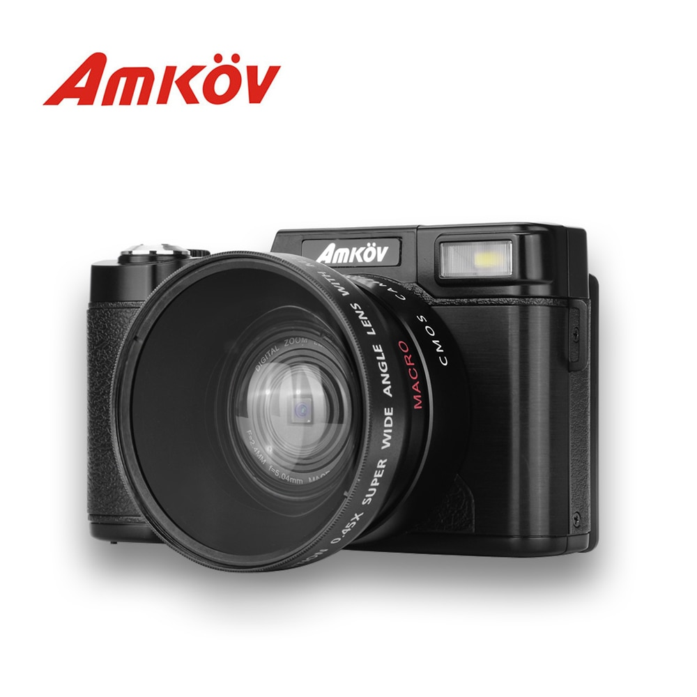 AMKOV CD - R2 CDR2 Digital Camera Video Camcorder with 3 inch TFT Screen UV Filter 0.45X Super Wide Angle Len Smart Photo Camera