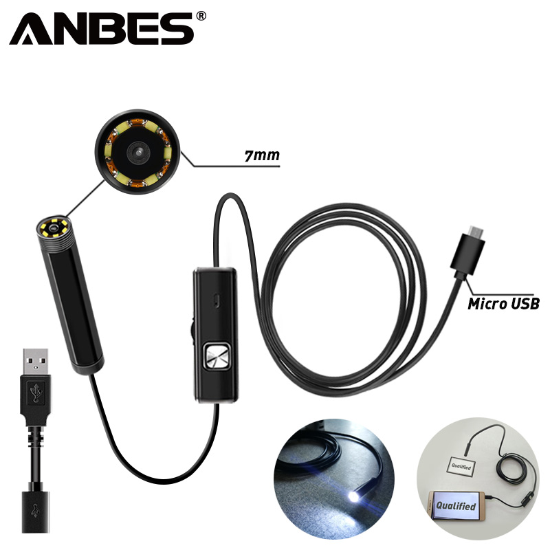 ANBES 7mm Inspection Pipe 1m Endoscope Waterproof Mini USB Camera Snake Tube with 6 LED Borescope For Android PC Dropshippingpi