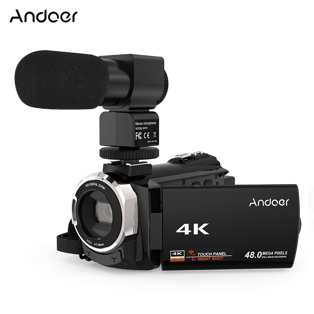 Andoer 4K 1080P 48MP WiFi Digital Video Camera Camcorder Recorder w/Microphone Novatek 96660 Chip 3inch Touchscreen IR Infrared