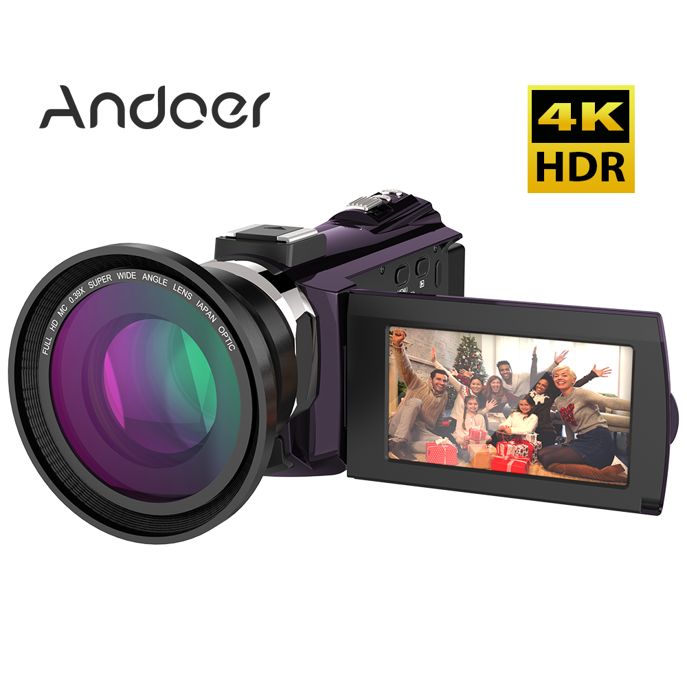 Andoer 4K 1080P 48MP WiFi Digital Video Camera Camcorder Recorder with 0.39X Wide Angle Night Sight 16X Zoom