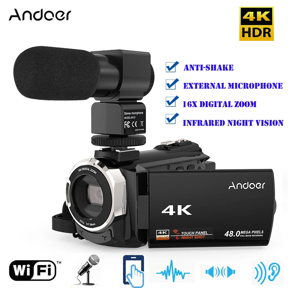 Andoer 4K 1080P 48MP WiFi Digital Video Camera Camcorder Recorder with External Microphone IR Infrared Night Sight 16X Zoom
