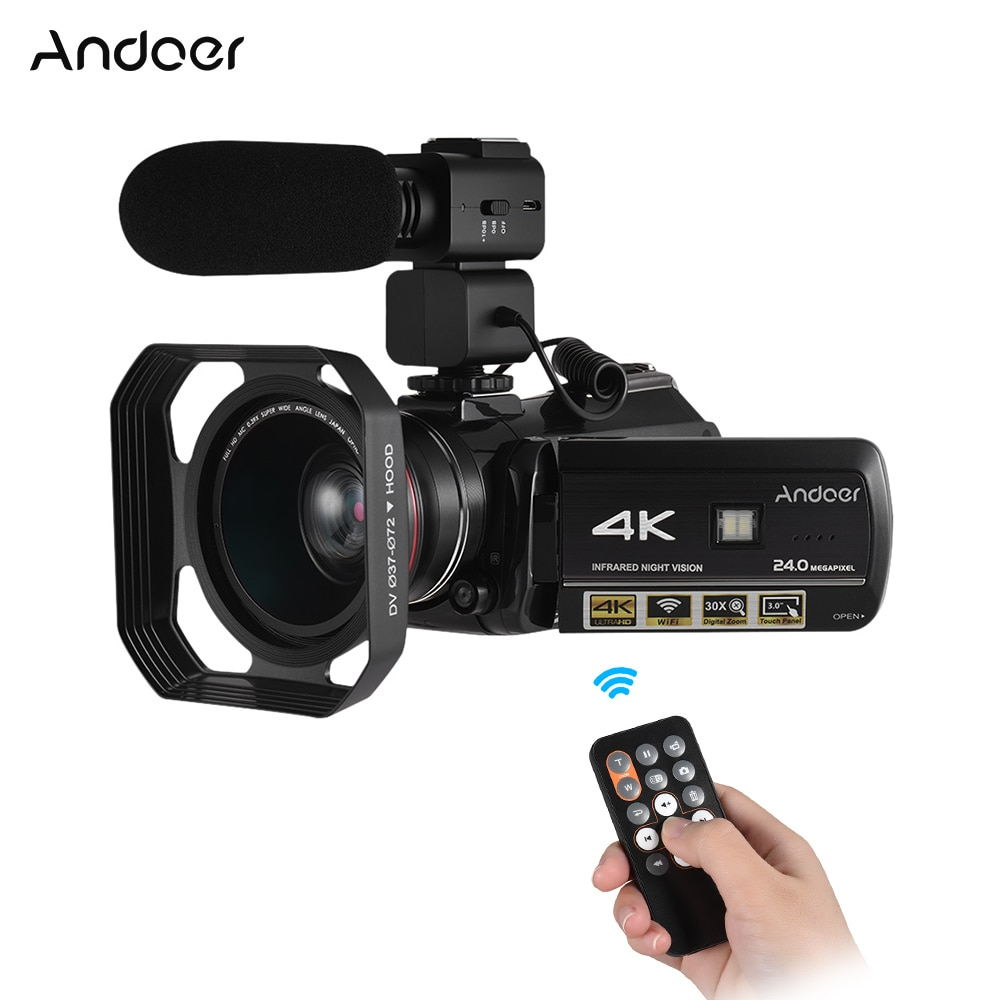 Andoer 4K 24MP Professional Video Camera Camcorder DV Recorder with 0.39X Wide Angle Lens + Lens Hood + External Microphone