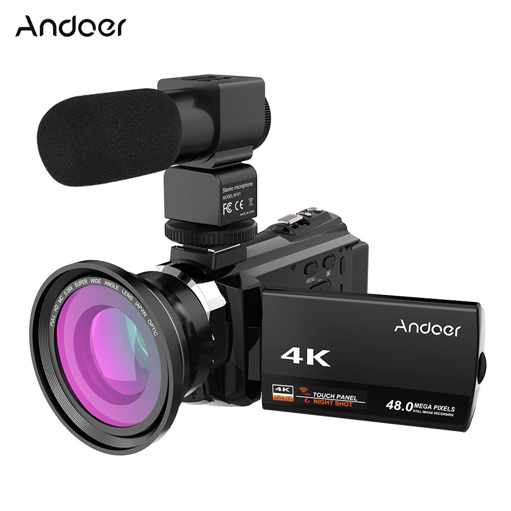 Andoer 4K1080P 48MP Camcorder WiFi Digital Video Camera Recorder + Wide Angle Macro Lens+External Microphone IR Night Sight