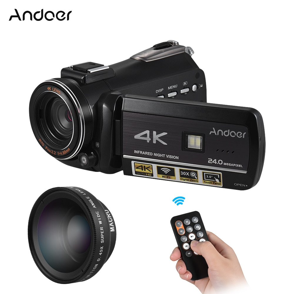Andoer AC3 4K UHD 24MP Digital Video Camera Camcorder DV Recorder WiFi IR Night Vision With Hot Shoe for External Microphone