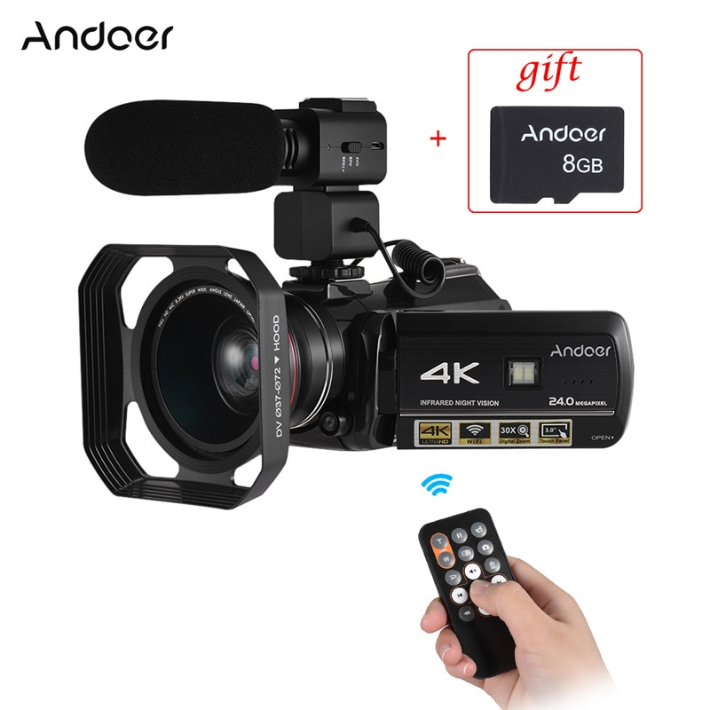 Andoer AC3 Professional Video Camera 4K Profesional Camcorder w/ Extra 0.39X Wide Angle Lens + Lens Hood +External Microphone