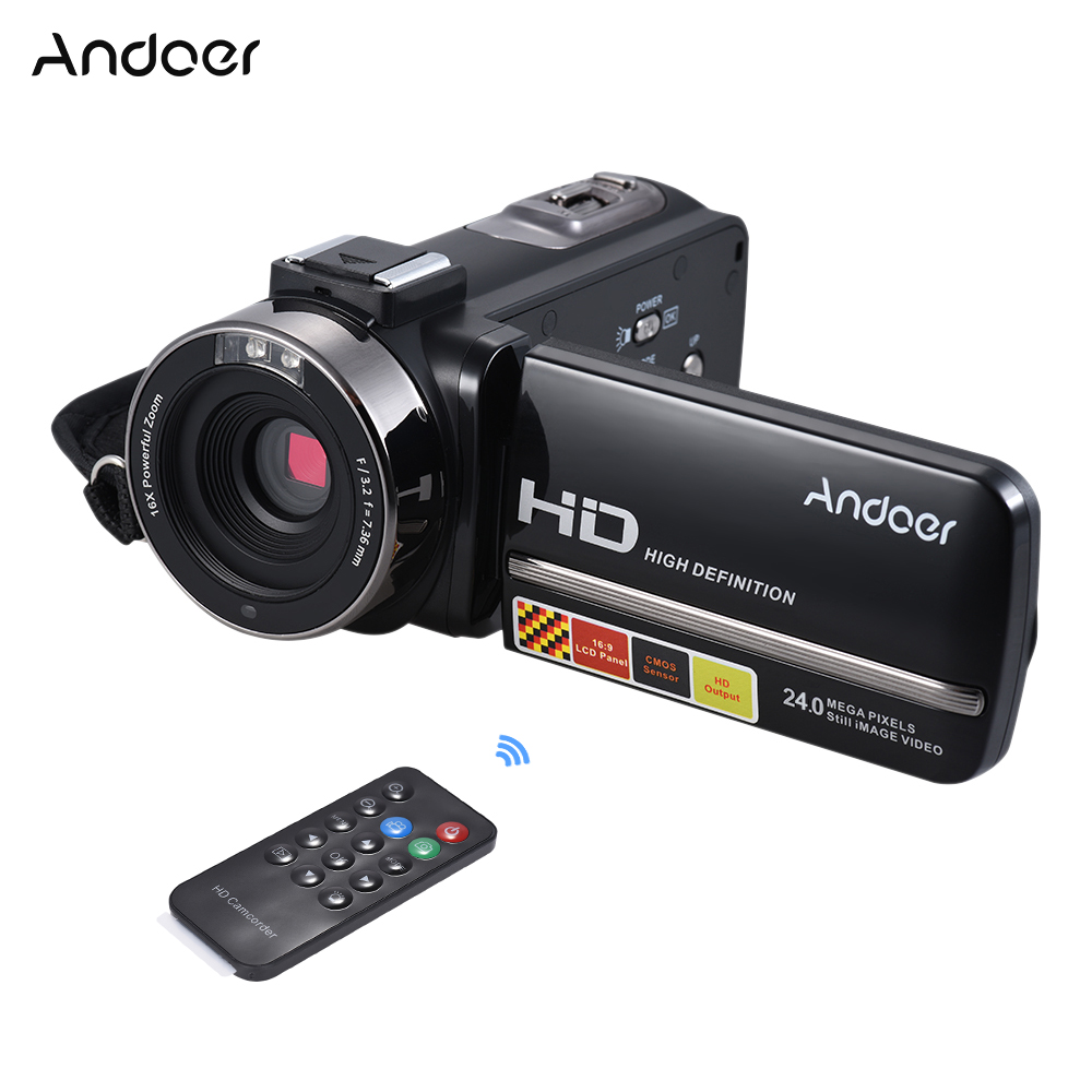 Andoer HDV-3051STR 24M Digital Video Camera 1080P Full HD w/Night-shot Hotshoe Digital Camcorder 3.0