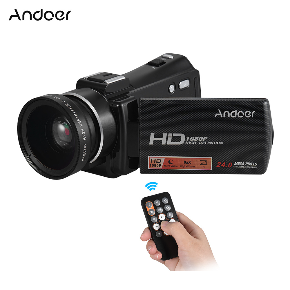 Andoer HDV-V7 PLUS 1080P Full HD 24MP Home Portable Digital Video Camera Camcorder Night Visionn+0.45X Wide Angle Len Rotary LCD