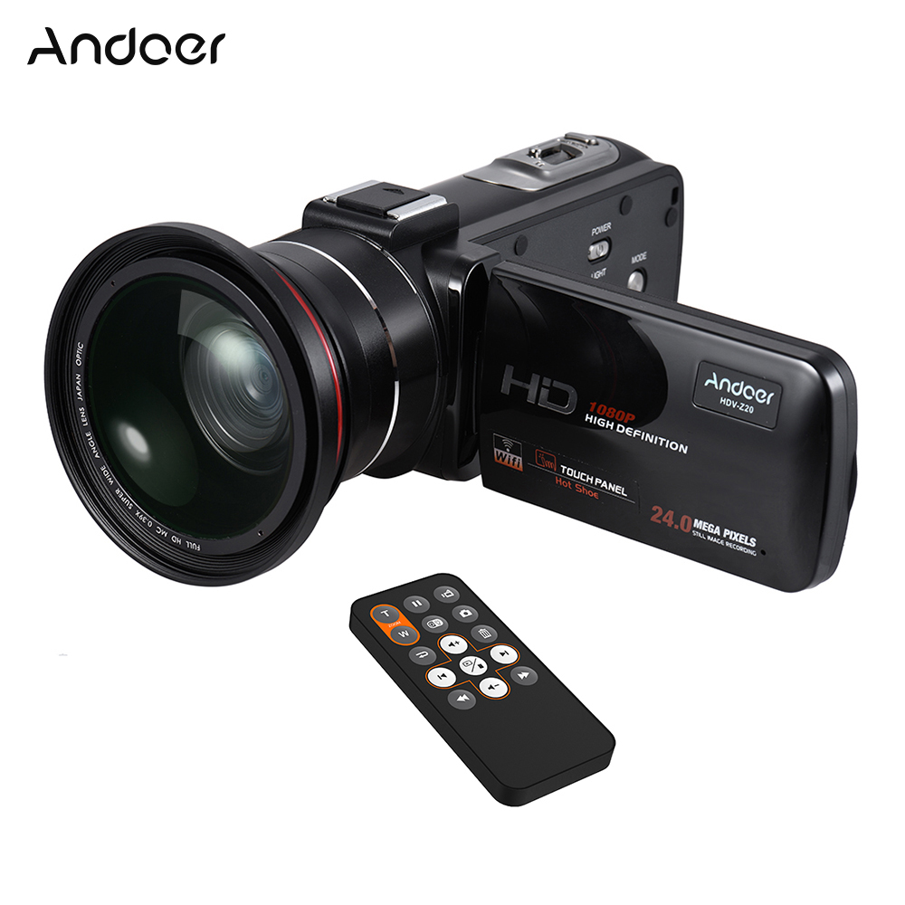 Andoer HDV-Z20 1080P Full HD 24MP WiFi Digital Video Camera Camcorder with 0.39X Wide Angle + Macro Lens IPS Touchscreen