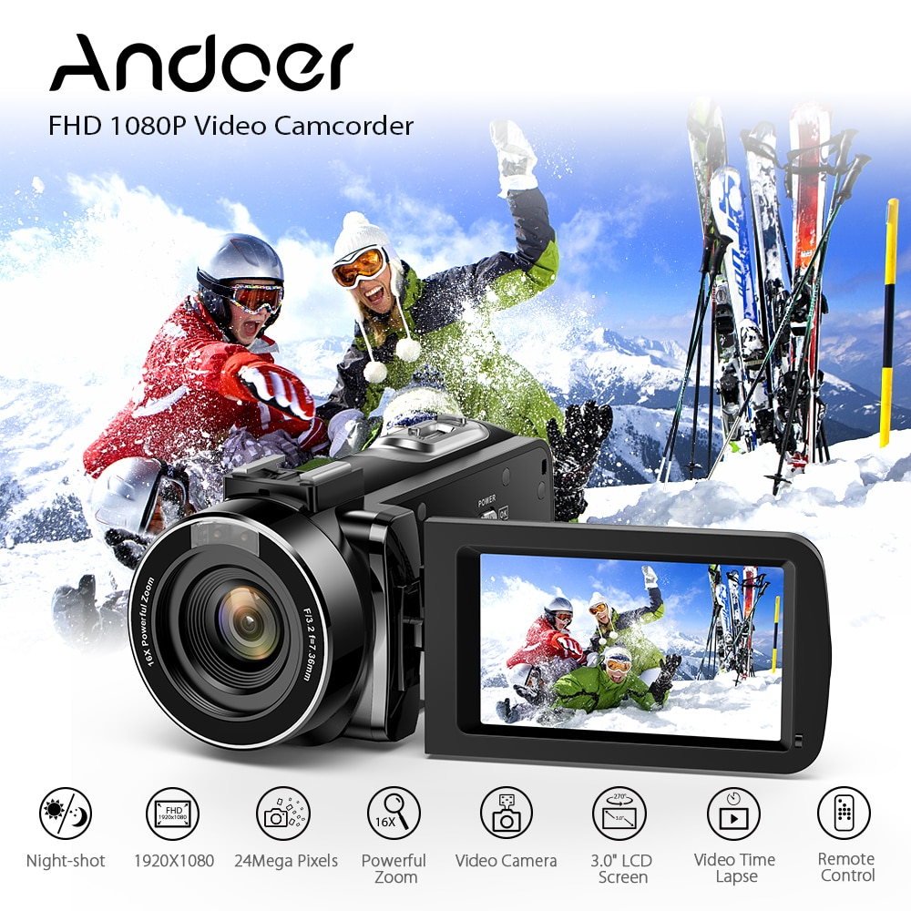 Andoer Home Use Digital Video Camera Camcorder FHD 1080P Portable Infrared Night Vision 3.0