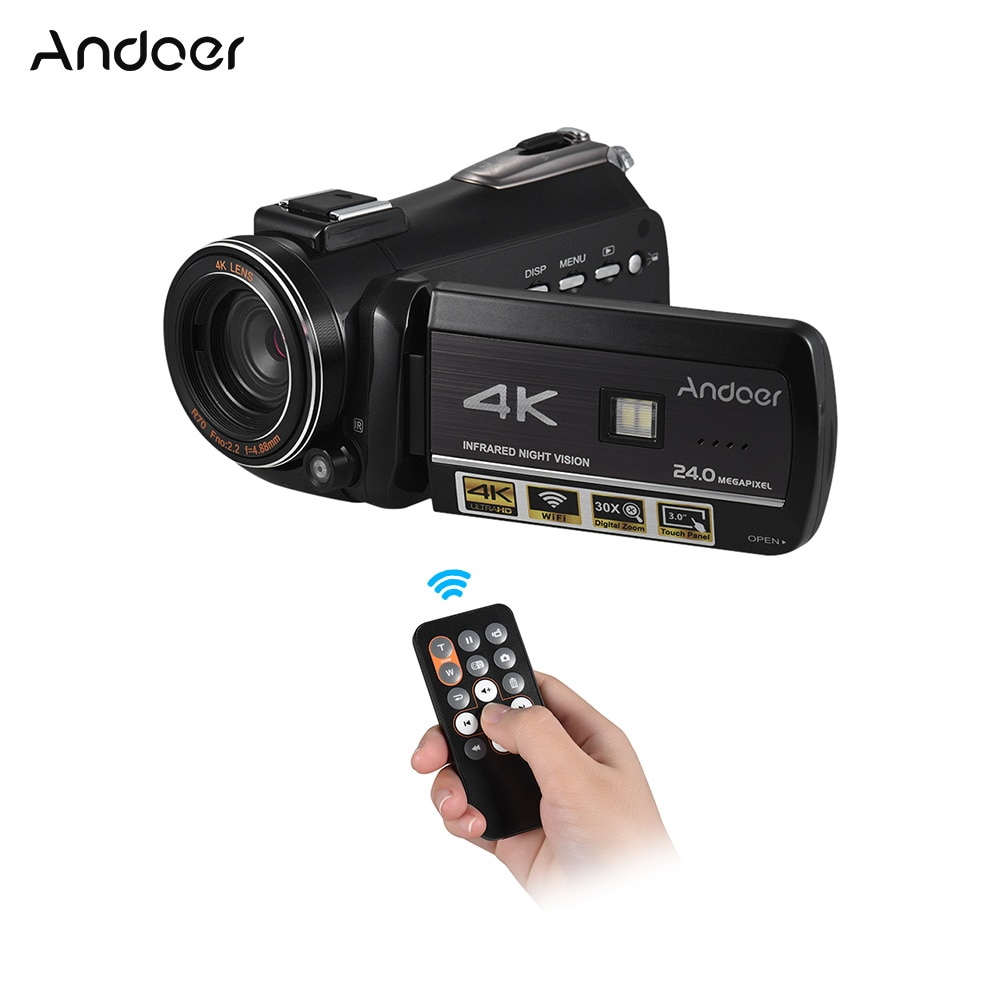 Andoer Professional Video Camera 4K UHD 24MP Camcorder Support WiFi Connection Night Vision w/ Hot Shoe for External Microphone