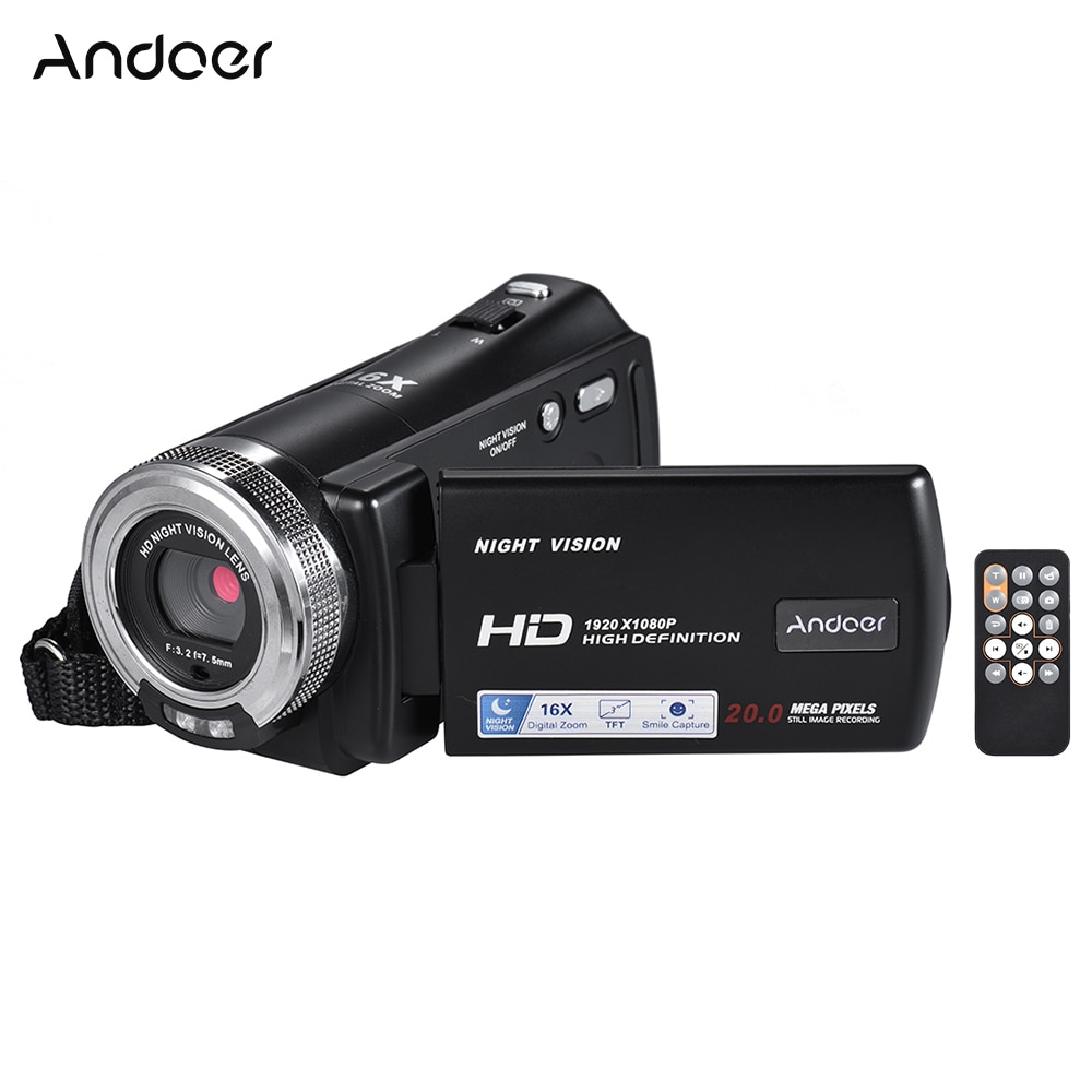 Andoer V12 1080P Video Camera Full HD 16X Digital Zoom Recording Camcorder w/3.0 Inch Rotatable LCD Screen Support Night Vision