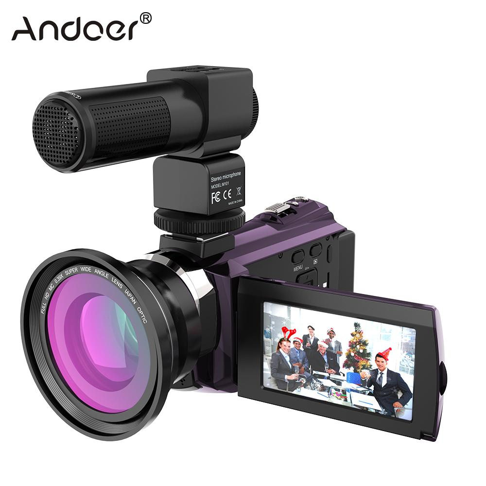 Andoer WiFi Digital Video Camera 4K 1080P 48MP Camera Camcorder Recorder with 0.39X Macro Lens Mic Touchscreen Night Sight