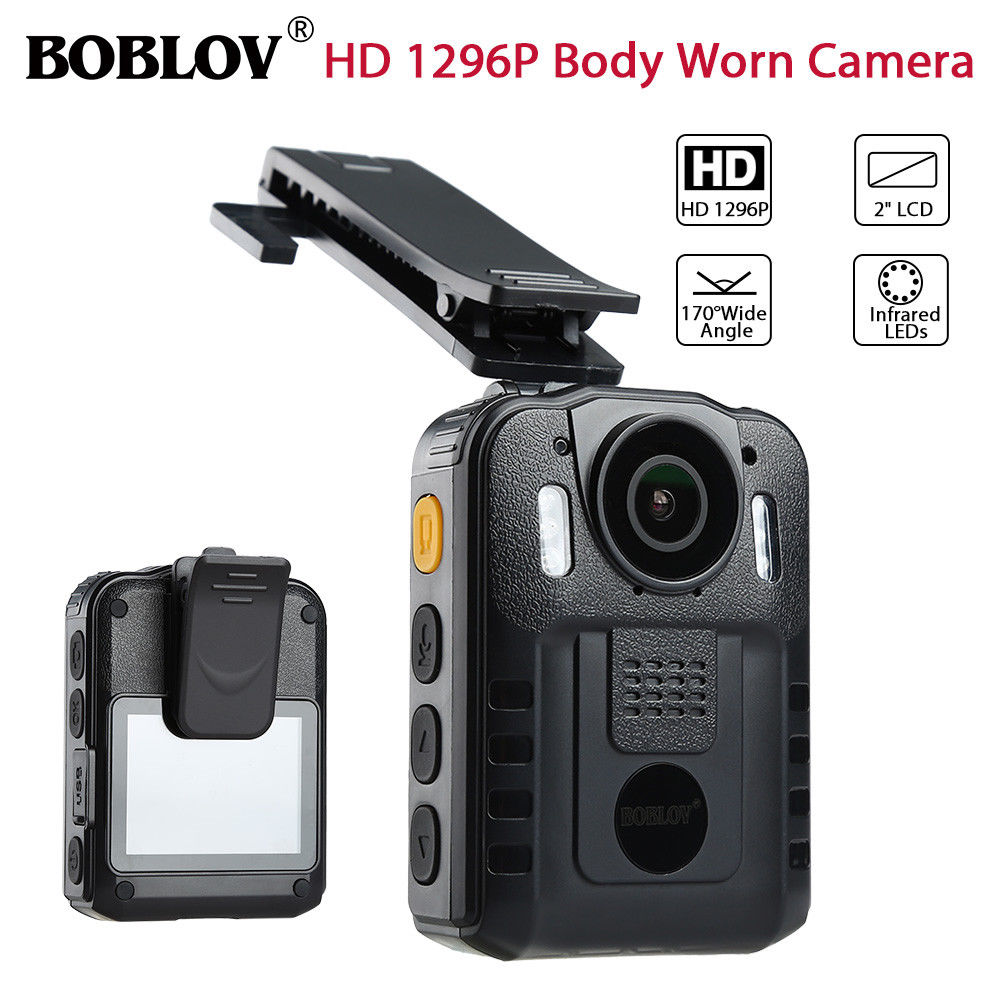 BOBLOV WN9 HD 1296P Novatek 96650 IR Night Vision Body Worn Camera 170 Degree Security Pocket Police Camera Multi-Language