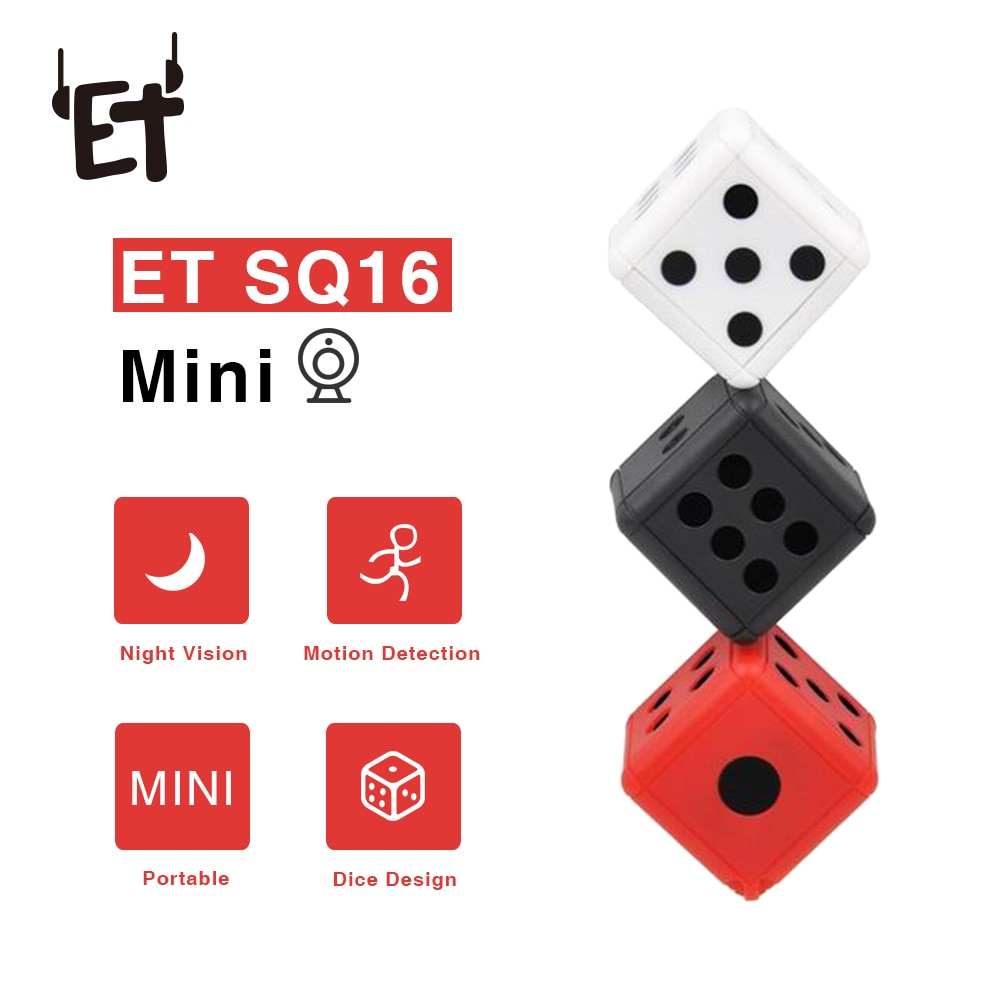ET SQ16 Mini Camera Security Dice Camera 1080P Motion Video Surveillance Camcorder Action Night Vision Recording Support TF Card