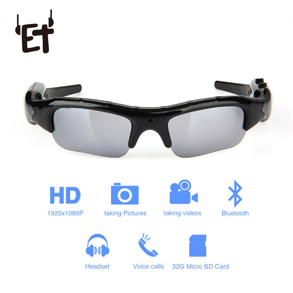 ET Wearable Sports Camcorder Rechargeable Sunglasses Camera Cycling Running Sunglasses Video Recorder for Outdoor Activities