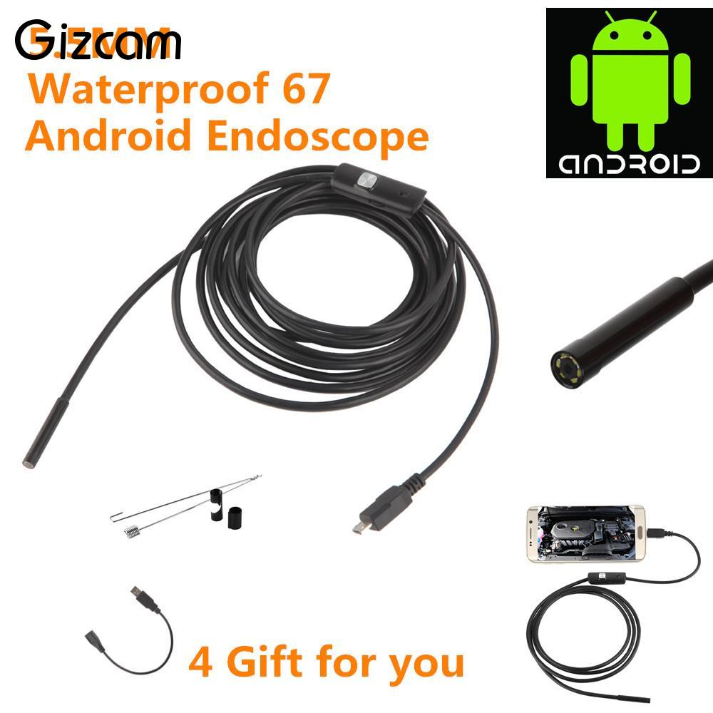 Gizcam 5.5mm 3.5M OTG Android Phone Endoscope Water proof Borescope Camera with 1 * (Small hook+Magnet+ Side audition)