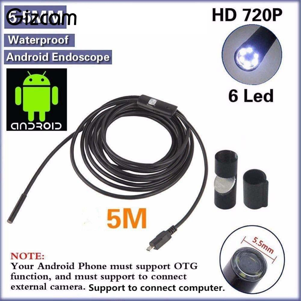 Gizcam mini 7mm 1M Endoscope IP67 Waterproof Borescope Inspection Tube Pipe Snake Camera For Android/PC