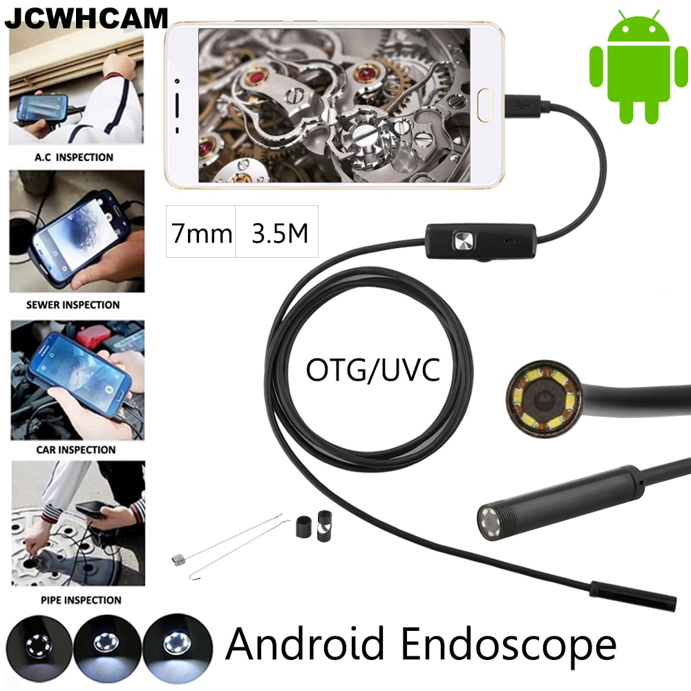 JCWHCAM 10pcs/lot 7mm 3.5M Android OTG USB Endoscope Camera Waterproof Snake Pipe Inspection Android USB Borescope Camera