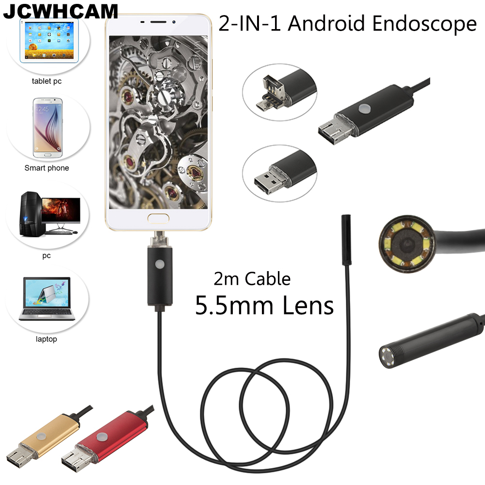 JCWHCAM 5.5mm Android USB Endoscope Camera 1/2/5/10M Flexible Snake Tube Inspection Smart Android Phone OTG USB Borescope Camera