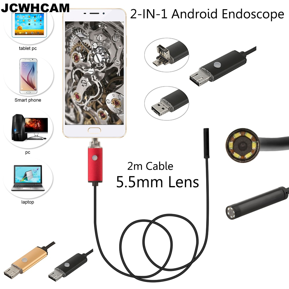 JCWHCAM 5.5mm OD USB Android Endoscope Camera 2M Flexible Snake IP67 Waterproof Tube Inspection USB Andorid Borescope Camera