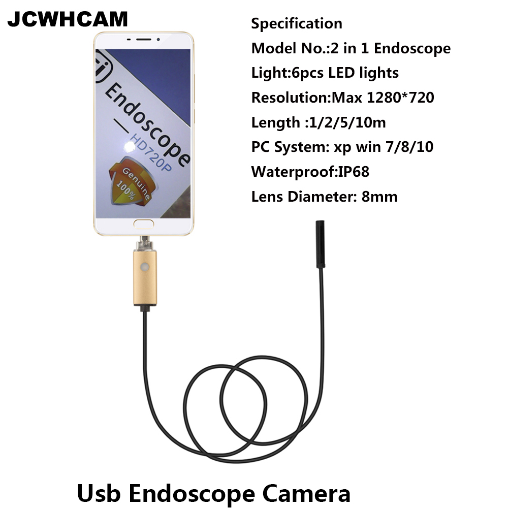 JCWHCAME ndoscope 8mm USB Endoscope Android 5M 10M PC USB Endoscopio Endoscope Camera 720P Inspection Waterproof Phone Camera