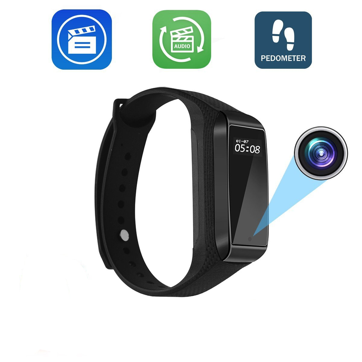 K68 Mini Smart Bracelet Camera HD 1080P Wearable Band DVR Video Audio Recorder Secret Camcorder Micro Cam Fitness Tracker Webcam