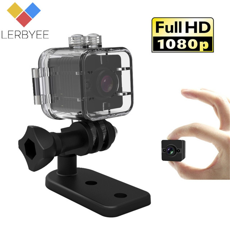 Lerbyee SQ12 Waterproof Mini Camera 1080P Sport Action Camera HD Video Recorder Night Vision Wide-Angle Camcorder Outdoor