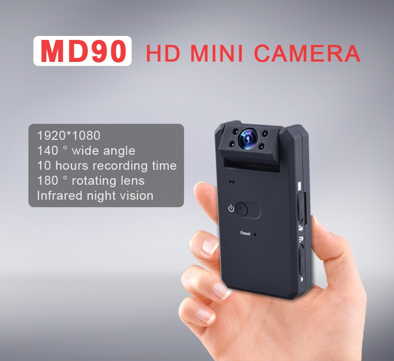 MD90 Micro Camera HD 1080P Mini Secret Camera Night Vision Mini Kamera Wide Angel Motion Sensor Mini DVR 180 Rotating Lens Cam