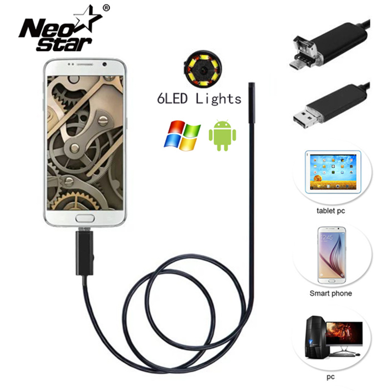 Miniature Waterproof Camera with Led Endoscope Magnet Suction Needle for Pipeline Car Room Checking Support xiaomi Android PC