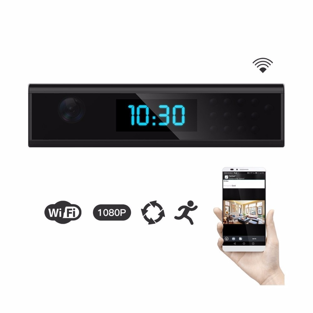 NEW 1920x1080 HD WIFI Mini Camera Clock Night Vision Wireless Nanny Cam IP Clock Support Android/iOS Phone View Video