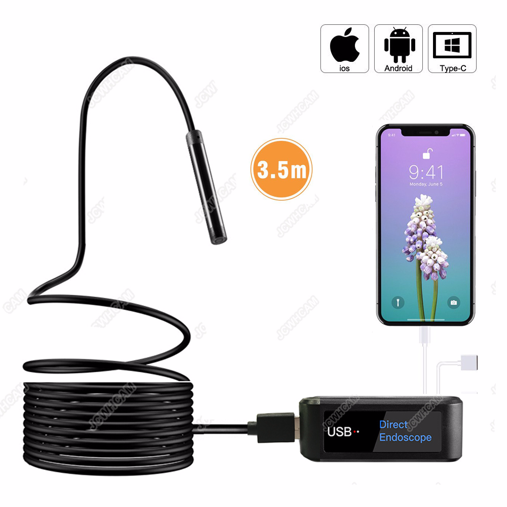 New No Wifi Endoscopy Direct Usb Endoscope Semi-Rigied 2m 3.5m 720P HD 2M 3.5M 5M 8mm Lens for Iphone Android IOS System PC